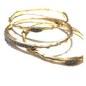 4/$25 Sale 3 Stackable Gold tone bracelets blue